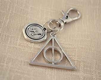 Deathly hallows keychain, Harry potter bag accessories, FREE SHIPPING, harry potter gift, initial keyring,  famous books, silver key chain