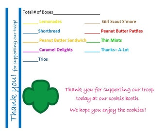 Girl Scout Cookie Booth Thank You Cards donation receipt