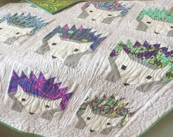 Handmade Baby Hedgehog Quilt featuring Slow & Steady by Tula Pink
