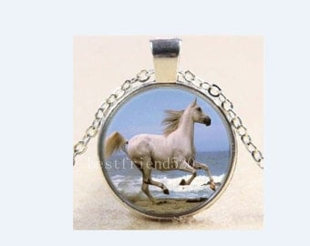 White horse necklace vintage jewelry glass cabochon equestrian gift idea of Western land photo accessories