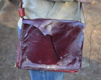 Handmade Red Leather Messenger Bag