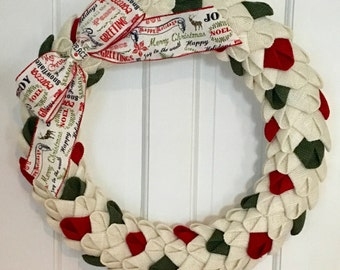 Christmas Burlap Petal Wreath, Burlap Wreath, Christmas Wreath, Christmas Decor, Front Door Wreath, CircleDecorWreaths