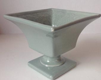 Vintage Royal Haeger Blue Speckled Pedestal Planter