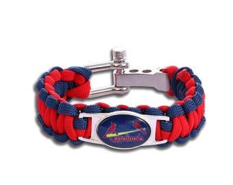 St Louis Cardinals Paracord Survival Bracelet with Adjustable Shackle