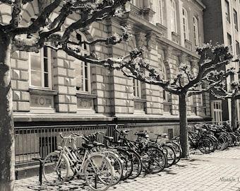 Bicycles in Altstadt, Oldtown in Dusseldorf, Architecture, Fine Art Print