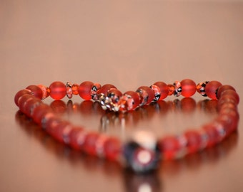 SALES 50% OFF!!!- Beautiful Red African Beads Jewelry Set- With Earring & Double Stranded Bracelet