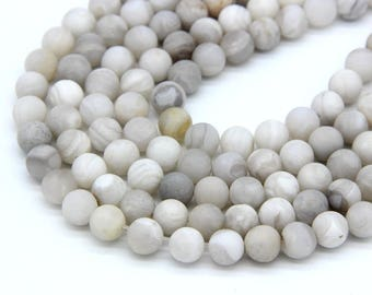 Natural Matte White Agate Beads 6 8mm 10mm White Gemstone Cream Beads White Mala Beads White Lace Agate Beads Light Gray White Striped Beads