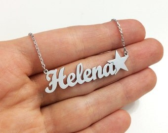 Custom Name Necklace with Star, Silver Name Necklace, Personalized Name Necklace, Nameplate Necklace, Personalized Necklace, Christmas Gift