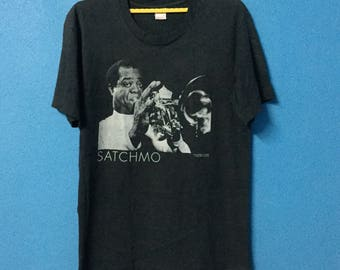 Rare!!vintage 90s satchmo trumpet jazz shirt made in usa