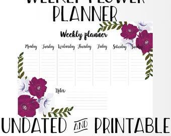 Weekly Flower Planner Undated - A4 Art Print Digital Poster