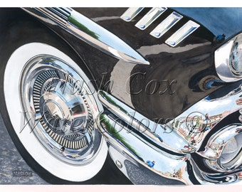 1958 Chevy Impala Chrome! Print from Original Watercolor Painting.