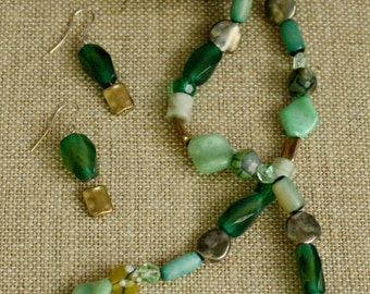 Shades of green necklace and earring set