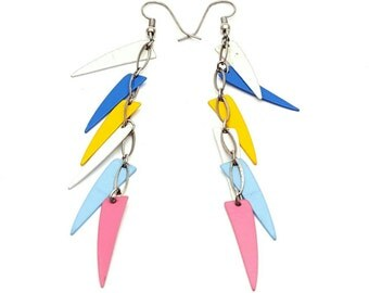 Early 90s Long Feather Drop Earrings Multicolored Vintage Metal Pink Blue Yellow Dangles
