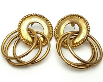 Gold tone Metal Drop Earrings Vintage Punk Rock from the 90s Steampunk Mechanical Three Hoops Intricate Cord Geometrical Grunge Circle