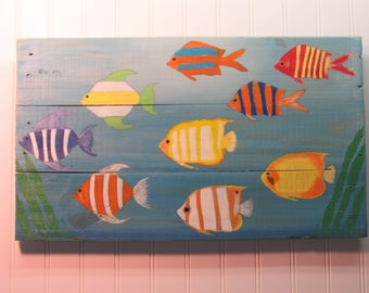 Hand Painted Pallet Wood Tropical Fish Wall Hanging