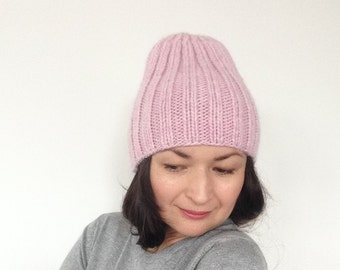 Knit Hat / Hand-knitted Hat / Warm Winter Hat / Pink Wool Hat / Wool Knitted Beanie / Knit Beanie / Wool