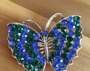 Blue & Green Sparkling Butterdly Brooch