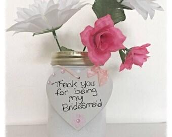 Bridesmaid mason jar with hanging heart
