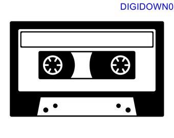 Cassette – SVG Cut File (mtc, svg, pdf, eps, ai, dxf, png & jpg) ~ DIGIDOWN001