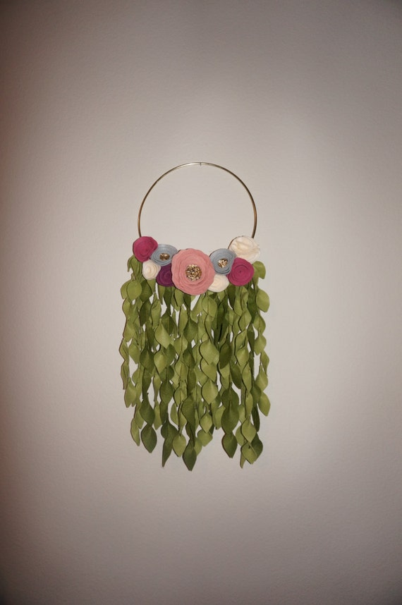 Felt Flower Wreath / Dream Catcher on Gold Hoop