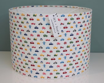 Handmade Cars and Robots Fabric Lampshade | Nursery/Children's Bedroom | Table/Ceiling Lampshade | 20cm or 30cm | 100% Cotton