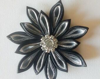 Kanzashi Hair Clip, Hair Flower Clip, Black Hair Clip, Hair Clip, Black Flower Hair Clip, Flower Bow, Black Hair Bow, Flower Accessories