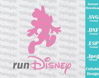INSTANT DOWNLOAD SVG Disney Inspired Minnie Mouse Run Disney for Cutting Machines Svg, Esp, Dxf and Jpeg Format Cricut Silhouette