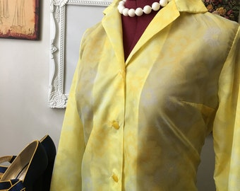 1970s Sunshine Blouse/ Yellow Blouse/ Vintage Blouse