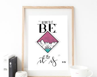 A4 Watercolour abstract landscape Islamic verse quote print
