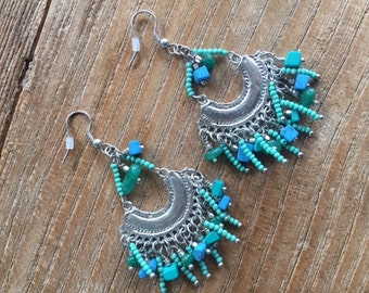 Turquoise and Blue Bohemian Beaded Earrings