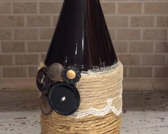 Brown Crock jar-jute-lace-sheer-buttons-vintage-black-brown-vase-home decoration