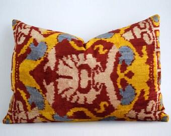 SALE! Handwoven Silk Luxury ikat velvet pillow, pillow, velvet, pink ikat pillow cover velvet pillow, ikat, throw pillow, velvet ikat pillow
