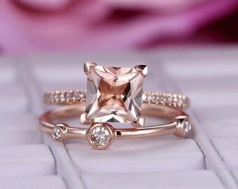 2pcs 8mm Princess Cut Morganite Engagement ring/Diamond wedding band/14k rose gold diamond band/Prongs/Half Eternity/3 stones wedding band