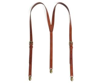 Men's Leather Suspenders/ Wedding Suspenders/ Groomsmen Suspenders/ Men's Braces/ Leather Braces/ Reddish Brown