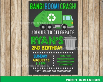 Garbage Truck Chalkboard invitation; Chalkboard Garbage Truck Birthday invitation, Garbage Truck party Invitation Digital File