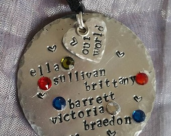 Personalized Hand Stamped Ornament with Swarovski Accents