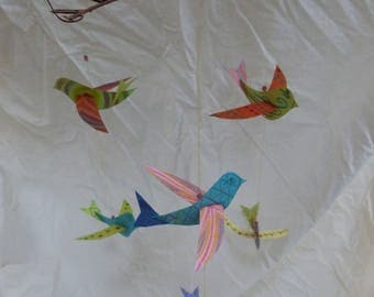 Whimsical Bird Mobile (6 birds)