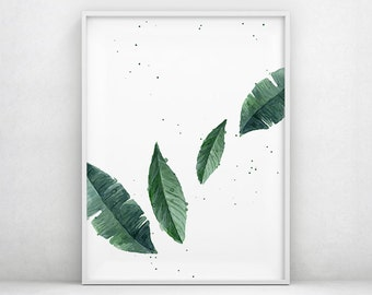 Botanical print, tropical leaf, tropical art, Palm leaf, palm print, palm leaf print, leaf print, palm tree,  tropical poster, botanical art