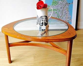 SOLD - Vintage Nathan 1960s Teak Coffee Table with Glass Centre