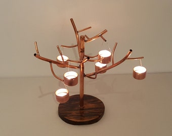 Copper pipe tealight tree
