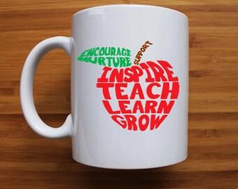 Teachers words apple mug