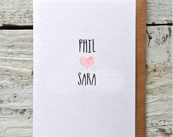 Personalised valentines card