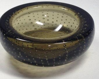 Whitefriars Glass Bowl, Whitefriars Glass Pin Bowl, Whitefriars Controlled Bubble Art Bowl, Smoky Grey Glass Bowl