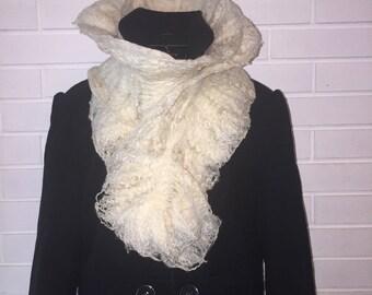 Beautiful merino, tussah silk and flax fibre wool scarf