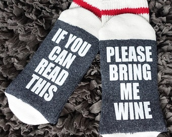 02 - Wine/Beer Socks, Bring me Wine Socks, Funny Socks womens, If you can read this socks, Custom Socks, Mens Socks, Wine Socks, Womens Sock