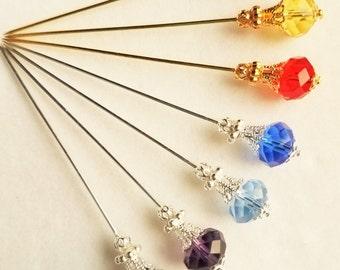 Crystal Bead Hijab Pin/Hat Pin