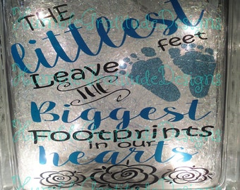Decorative Lighted Glass Block - The Littlest Feet Leave the Biggest Footprints in our Heart - Children - Loss