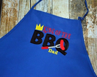 King of the BBQ Personalized Apron -Men's Apron - Housewarming or Father's Day Gift - Dad Apron