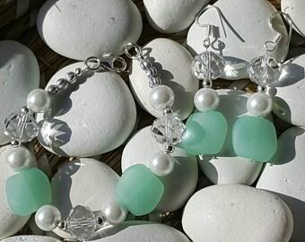 Sea foam pearl glass bracelet and earring set, beach