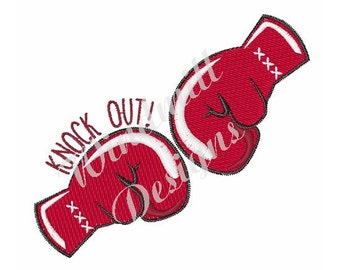 Knock Out Boxing Gloves- Machine Embroidery Design